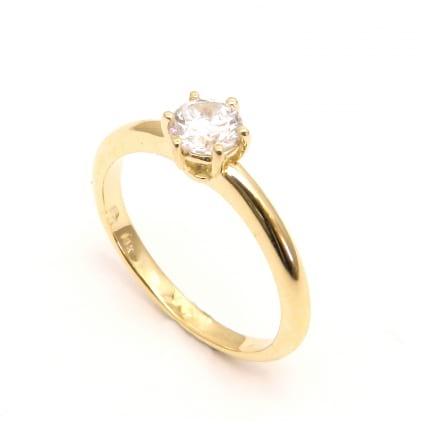 Оправа в красном золоте - кольцо с одним бриллиантом