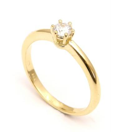 Оправа - недорогое кольцо желтое золото с бриллиантом