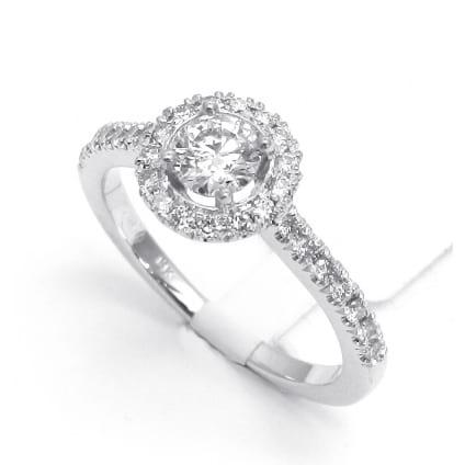 Тонкая бриллиантовая оправа кольцо для бриллианта от 0.5 карата