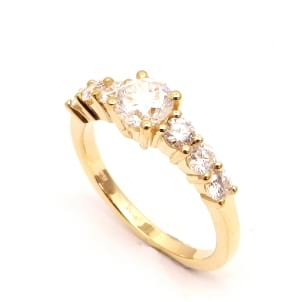 Оправа кольца в розовом золоте с шестью бриллиантами