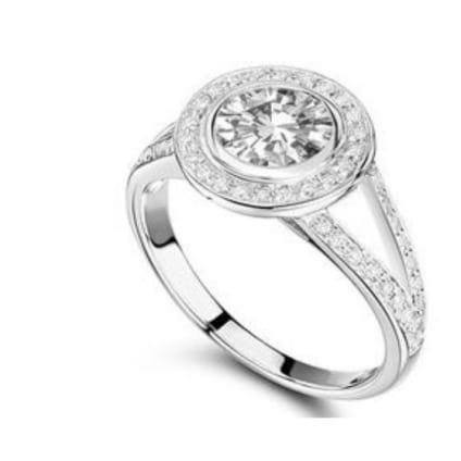 Оправа кольца с ободком, дорожками и центральным бриллиантом