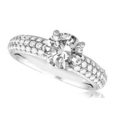 Оправа кольцо бриллиантом 1 карат и 3 дорожками вставок