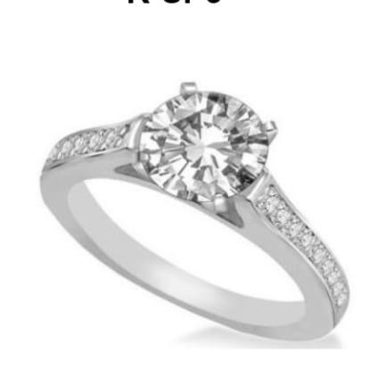 Оправа кольцо для бриллианта 1 карат с ободком мелких вставок