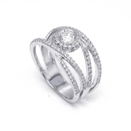 Бриллиантовая оправа - кольцо с центральным камнем