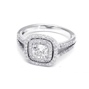Золотая оправа кольца для бриллианта 1 карата