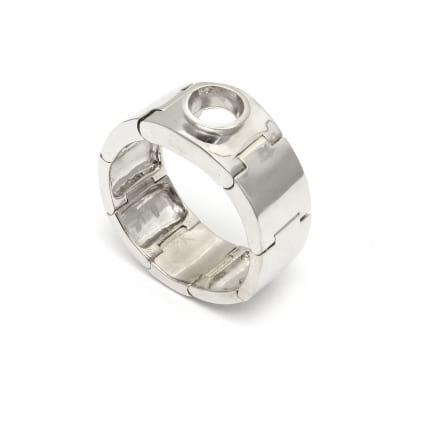 Оправа широкое мужское кольцо с одним бриллиантом