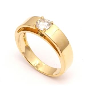 Оправа мужское кольцо красное золото с бриллиантом