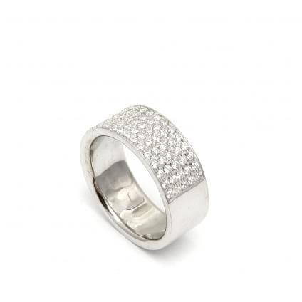 Широкое обручальное кольцо из золота с бриллиантами