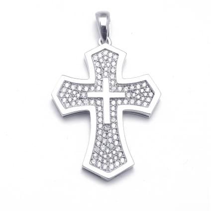 Золотой крестик усыпанный бриллиантами 1.42 карата