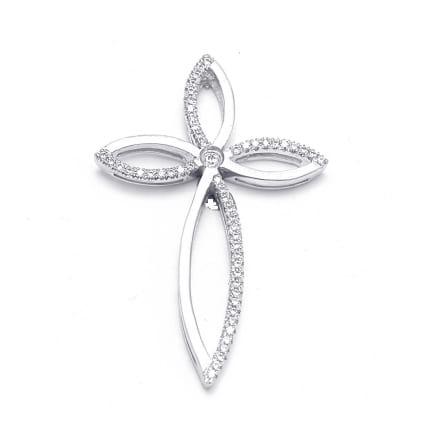 Женский нательный крестик с бриллиантами