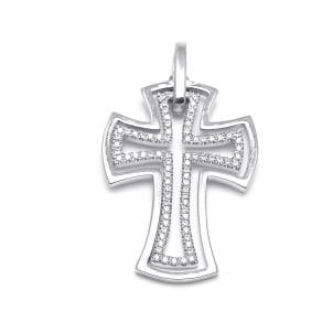Мужской нательный крестик из золота с бриллиантами