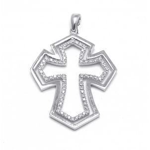 Золотой нательный крест, украшенный бриллиантами