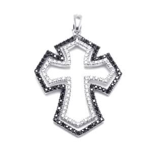 Золотой крестик с белыми и черными бриллиантами