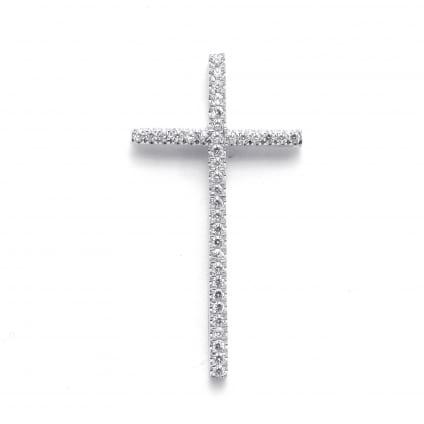 Православный крестик из белого золота с бриллиантами