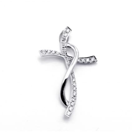 Золотой крестик с дорожкой бриллиантов