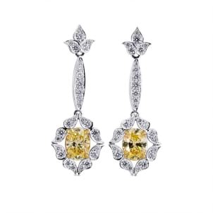 Fancy Light Yellow Oval Diamond Drop Earrings 601632