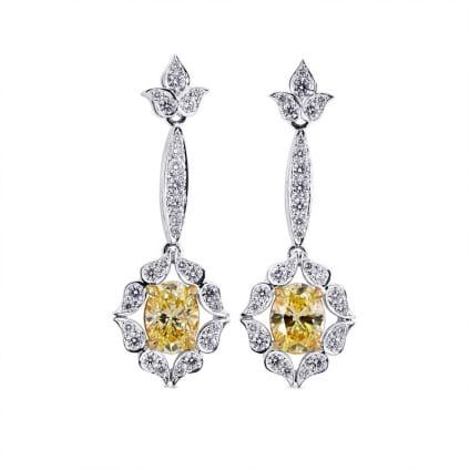 Fancy Light Yellow Oval Diamond Drop Earrings 601632