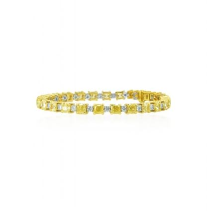Fancy Yellow and White Cushion Diamond Bracelet 605892