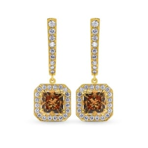 Fancy Yellow Brown Princess Diamond Drop Halo Earrings 610722