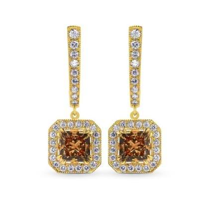 Fancy Yellow Brown Princess Diamond Drop Halo Earrings 610722