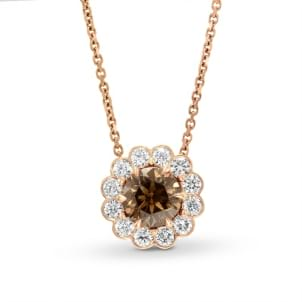 Brown Round Brilliant Flower Halo Pendant 620604