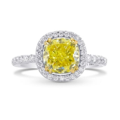 Fancy Intense Yellow Cushion Diamond Halo Ring 636114