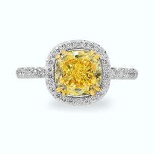 A Fancy Intense Yellow Cushion Diamond Halo Ring 636114