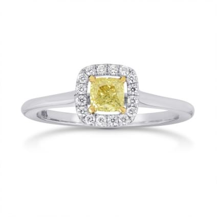 Fancy Yellow Cushion Diamond Halo Ring 648438