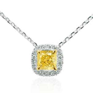 Fancy Intense Yellow Cushion Diamond Halo Pendant 651570