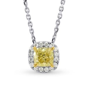 Fancy Yellow Cushion Diamond Halo Pendant 651720