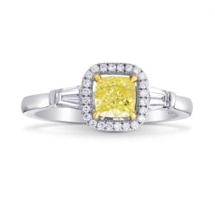 Fancy Intense Yellow Cushion and Taper Diamond Ring 670182