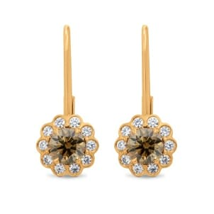 Fancy Brown Round Diamond Drop Floral Earrings - Praline Collection 681852