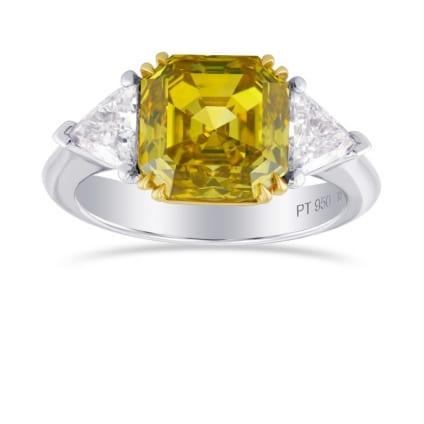 Fancy Deep Yellow Asscher Cut 3 Stone Diamond Ring 682020