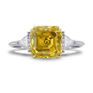 Fancy Deep Yellow Asscher Cut Diamond Ring 682020