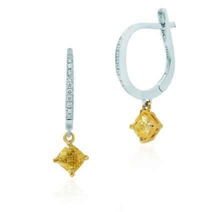 Серьги, бриллиант Цвет: Желтый, Вес: 1.10 карат