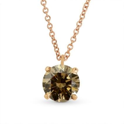Fancy Yellow Brown Brilliant cut  Diamond Solitaire Pendant 694212