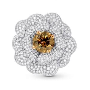 Fancy Orange Brown Diamond Pave Flower Ring 733944