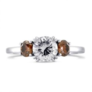 White and Fancy Dark Orange Brown Diamond Three Stone Ring 735852