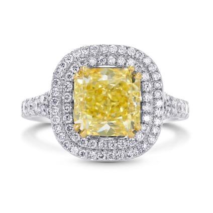 Fancy Yellow Radiant Diamond Double Halo Ring 803688