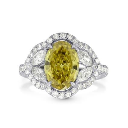 Fancy Dark Brownish Greenish Yellow Diamond Halo Ring 824484