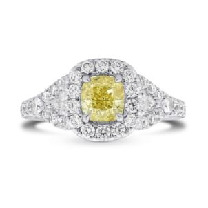 Fancy Intense Yellow Cushion Diamond Halo Ring 845610