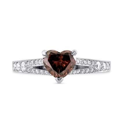 Fancy Deep Brown Pink Heart Diamond Side stone Ring 861126