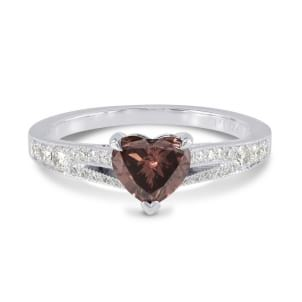 Fancy Deep Brown Pink Heart Diamond Ring 861126