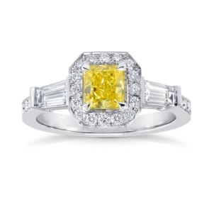 Fancy Vivid Yellow Diamond Halo and Side Stone  Ring 863670