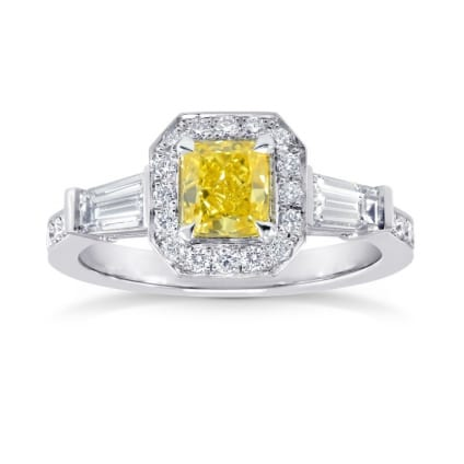 Fancy Vivid Yellow Diamond Halo Ring 863670