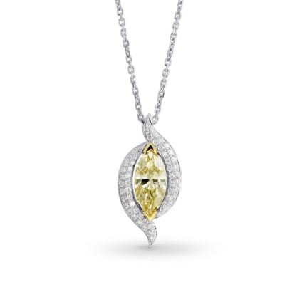 Fancy light yellow marquise diamond and pave pendant 869352