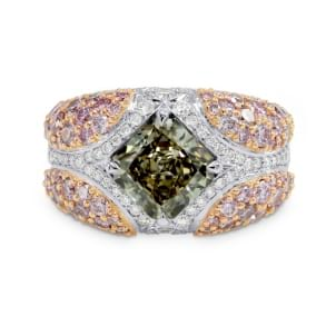 Green Radiant Pink Pave Diamond Ring 896352
