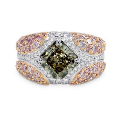 Green Radiant Pink Pave Diamond Ring 896352