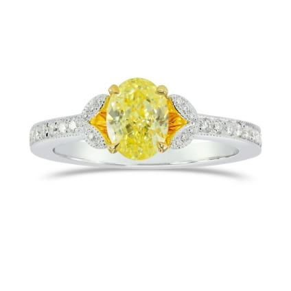 Fancy Intense Yellow Oval & Pave Diamond Ring 923568