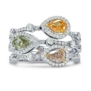 Pear Shaped Diamond Halo Three Strand Ring 943548